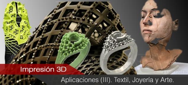 Aplicaciones de la impresión 3D (III). Textil, Joyería y Arte.